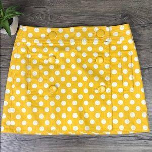 J. Crew Polka Dot Mini Skirt Gold Yellow